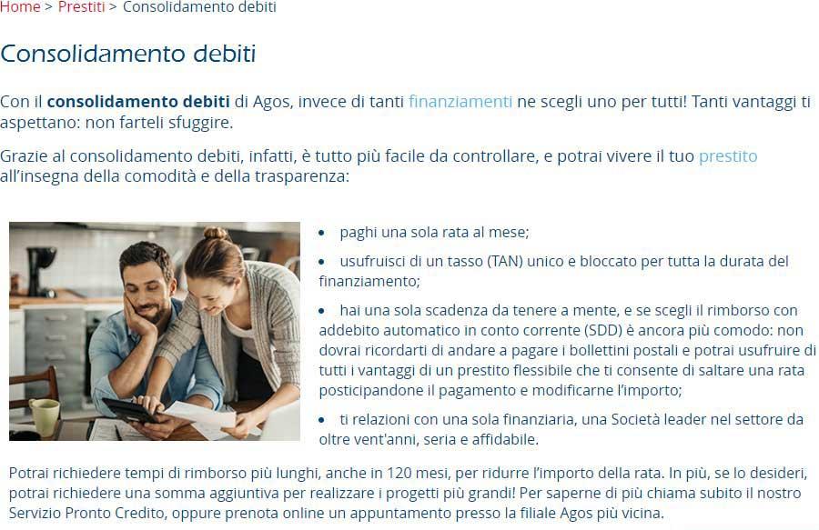 Richiesta consolidamento debiti online Agos
