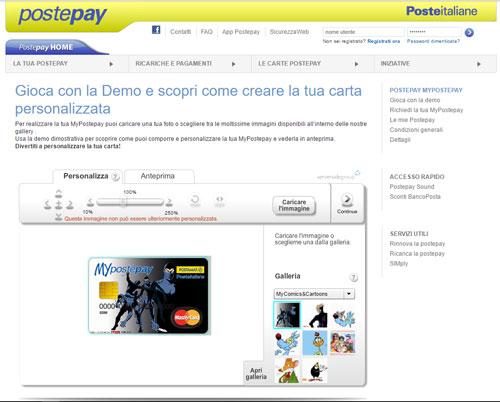 Immagine della pagina demo per la personalizzazione della carta prepagata MyPostepay