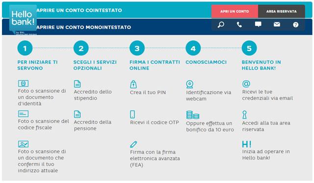 Procedura apertura conto corrente online con carta di credito