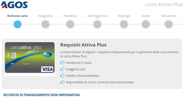 Richiesta Carta Attiva plus agos ducato