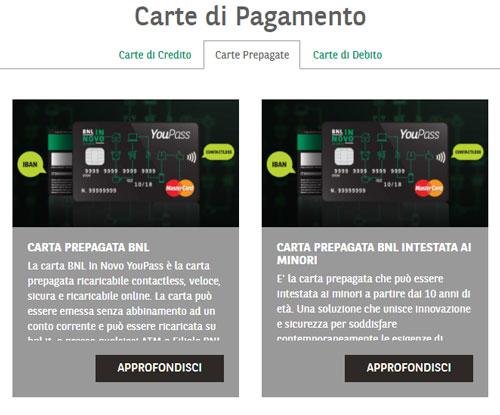 Carte di pagamento BNL
