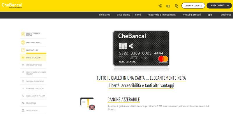 carte di credito CheBanca