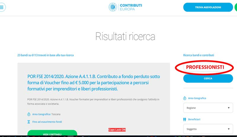 contributieuropa ricerca finanziamento step 2
