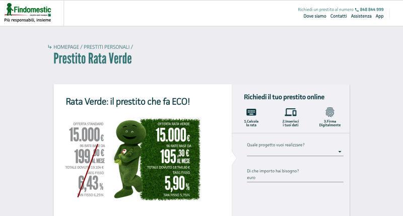 Prestito Personale Findomestic Rata Verde