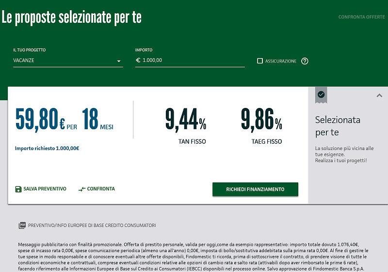 Risultato simulazione prestito findomestic 1.000 euro