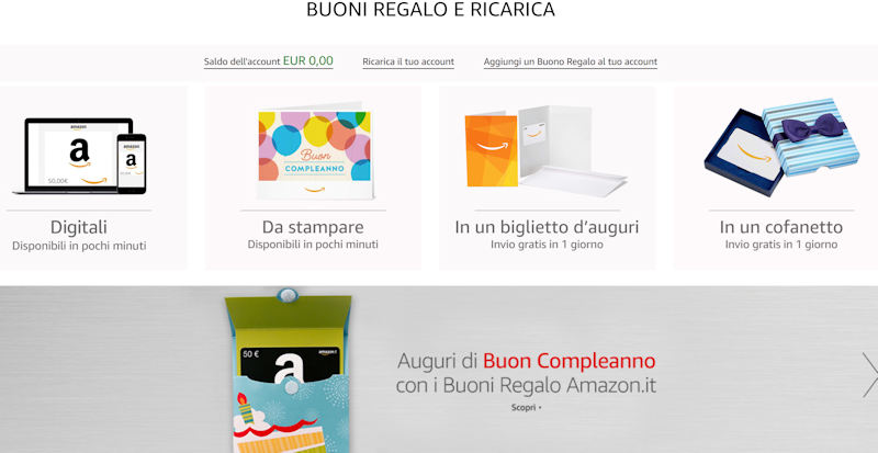 buoni regalo amazon tipologie