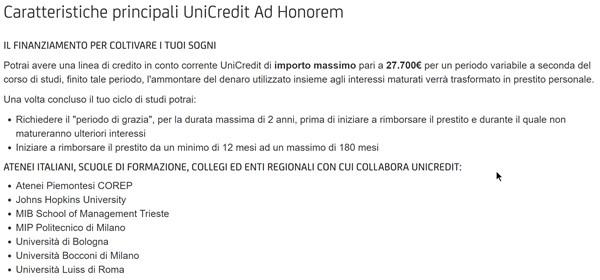 Prestito Honorem di Banca UniCredit