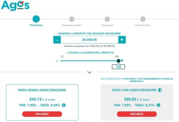 Esempio calcolo rata per un prestito AGOS pari a 20.000 euro con o senza assicurazione